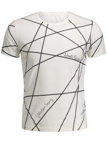 Mens Short Sleeve Geo Print Tee - White 2xl