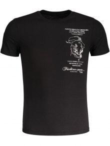 Camiseta De Algodón Bordada Para Hombre Slub - Negro L