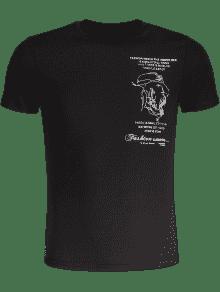 Negro Para Camiseta Hombre De Slub Bordada Algod 243;n M w0U0a7