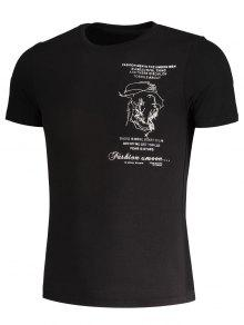 Slub M Camiseta Bordada Negro Algod Hombre Para De 243;n RxZ8RW