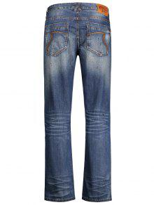 2018 zerrissene straight jeans mit rei verschluss von denim blau 34 zaful. Black Bedroom Furniture Sets. Home Design Ideas