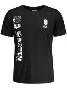 Graphic Letter Skull Print Short Sleeve T-shirt - Black L