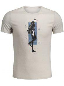 Walking Man Print Graphic Tee - Khaki M