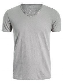 Mens V Neck Cotton Basic Tee - Light Gray Xl