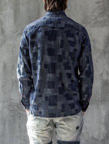 Mezclilla Hombre De Larga Manga Camisa Jacquard ATXX6q
