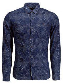 Larga Hombre Denim Jarcquard Xl Para De Camiseta Manga Azul aqwIEn6