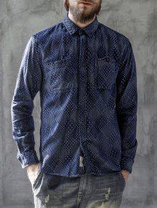 Jarcquard Hombre Para Azul Manga De Xl Camiseta Denim Larga wfZ44S