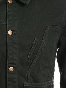 Verde Denim Fit Slim Jacket L Ejercito Bolsillos Delanteros qSfP1wH