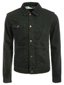 Slim Fit Front Pockets Denim Jacket - Army Green M