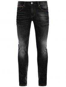 Buy Zipper Fly Straight Worn Jeans - BLACK 38