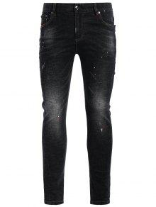 Zipper Fly Worn Vintage Jeans - Black 32