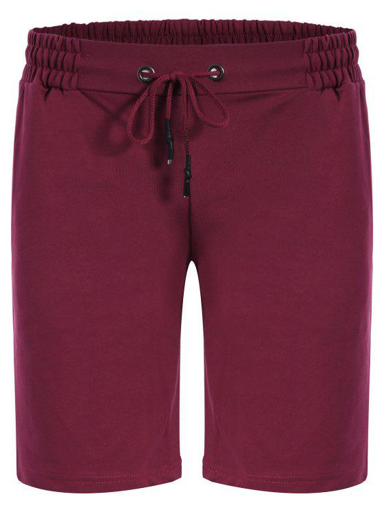 Side Pocket Drawstring Men Bermuda Shorts - Vermelho Púrpura XL