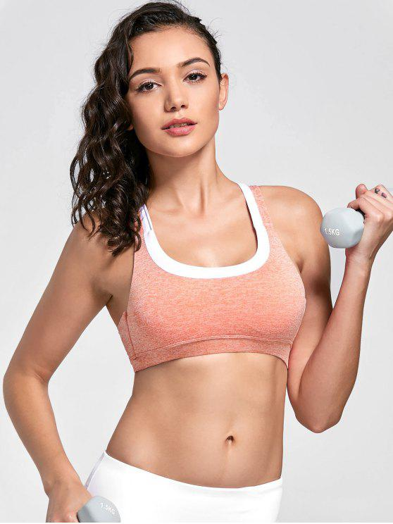 hot Marled Sweat Top Sports Bra - PINK L