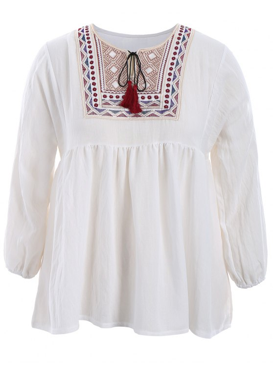 hot Plus Size Embroidered Long Sleeves Peasant Top - WHITE 4XL