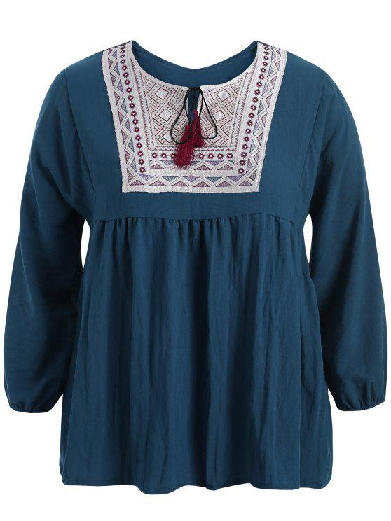 trendy Plus Size Embroidered Long Sleeves Peasant Top - CADETBLUE XL