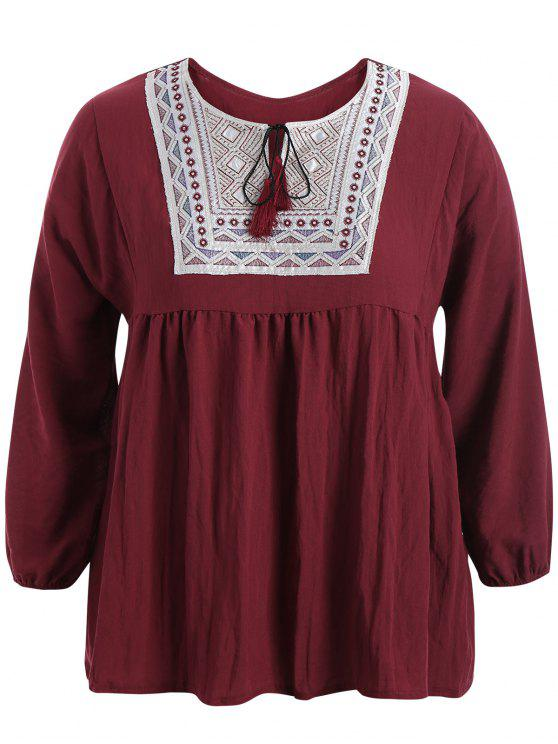 sale Plus Size Embroidered Long Sleeves Peasant Top - WINE RED XL