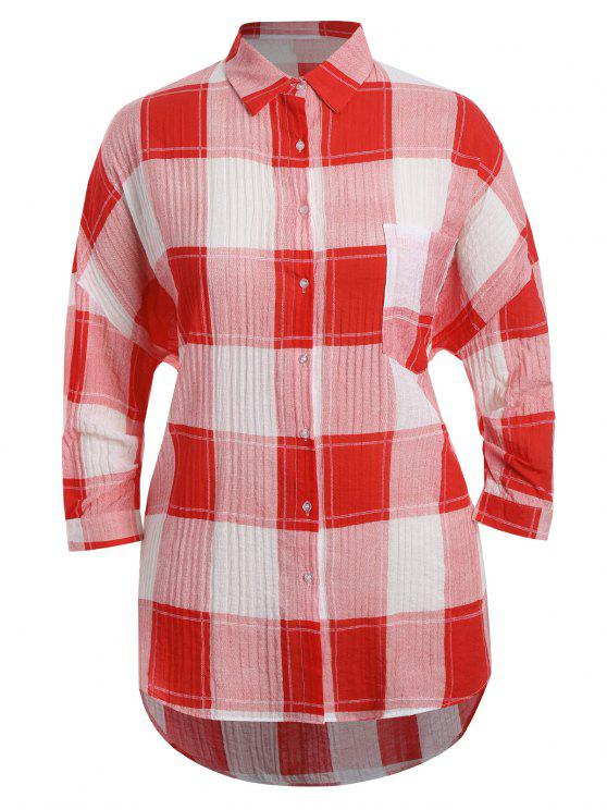 affordable Checked Plus Size High Low Shirt - RED XL