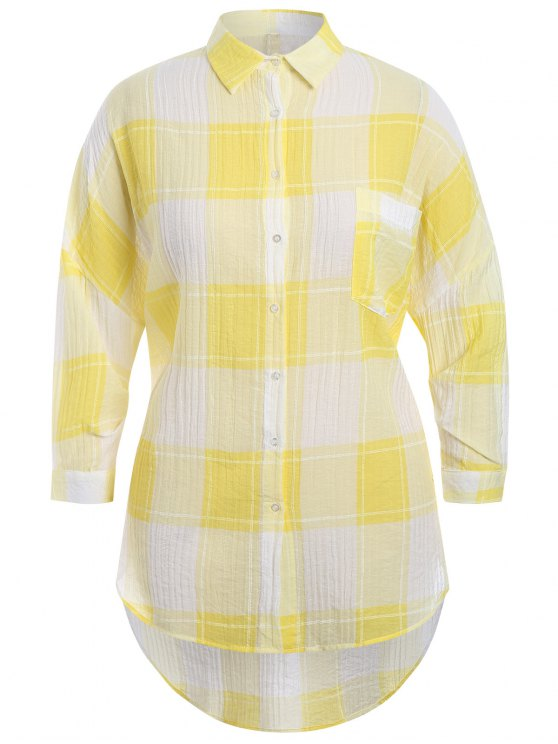 women's Checked Plus Size High Low Shirt - YELLOW 2XL