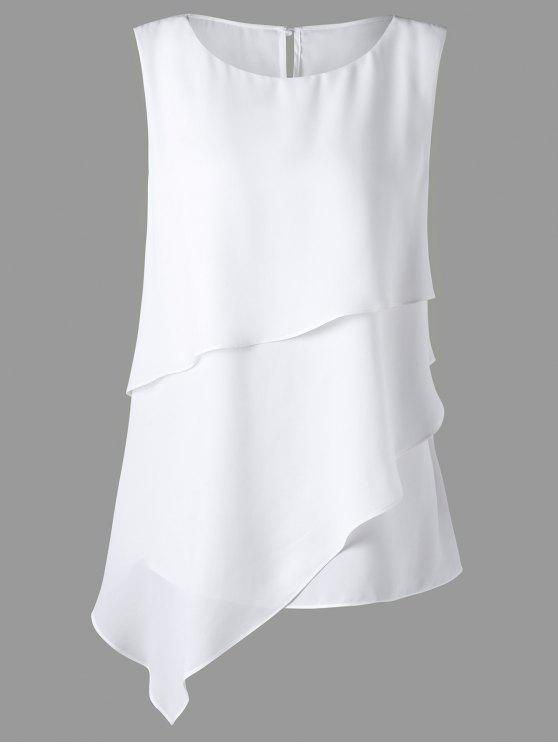 hot Plus Size Overlay Sleeveless Asymmetrical Top - WHITE 5XL