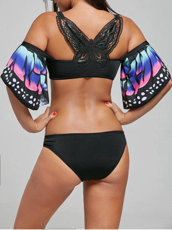 shops Butterfly Sleeve Crochet Back Bikini Set - BLACK 2XL