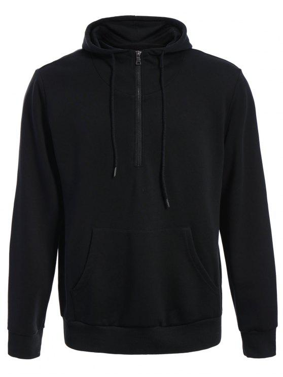 Sudadera con capucha extragrande de bolsillo delantero para hombre - Negro L