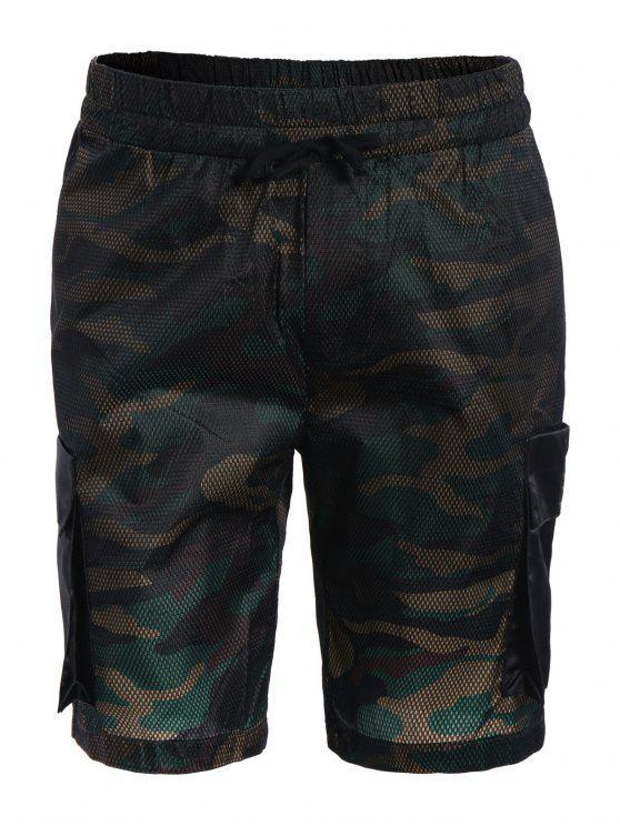 Camo Print Swim Cargo Board Shorts - Camuflage, L