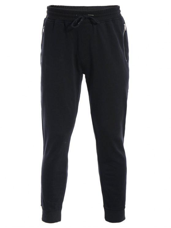 Herren Jogger Sweathosen mit Reißverschluss und Taschen - Schwarz 5XL