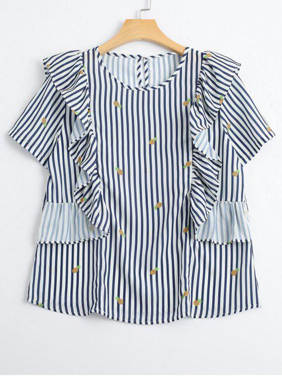 affordable Stripes Ruffles Pineapple Top - STRIPE L