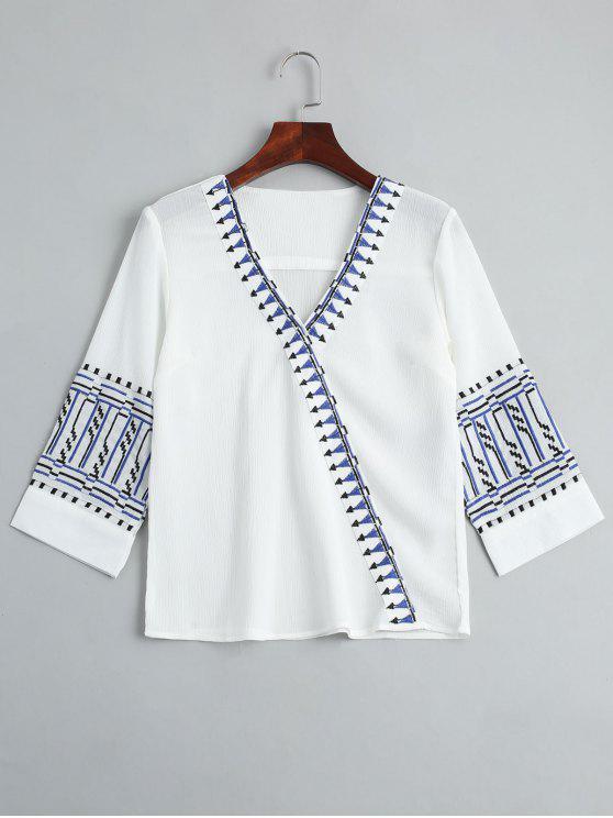 buy V Neck Embroidery Blouse - WHITE L