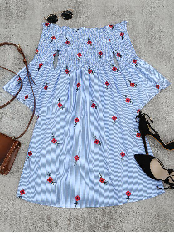 chic Floral Embroidered Flare Sleeve Striped Dress - LIGHT BLUE ONE SIZE