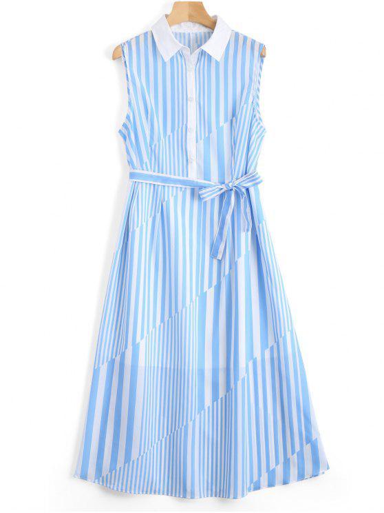 unique Sleeveless Half Buttoned Stripes Shirt Dress - STRIPE M