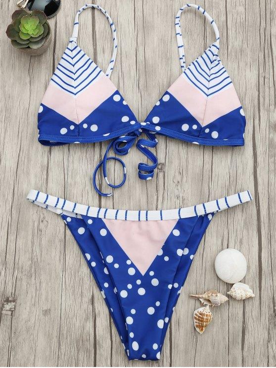 lady Padded Chevron Dot Print String Bikini Set - BLUE AND PINK L
