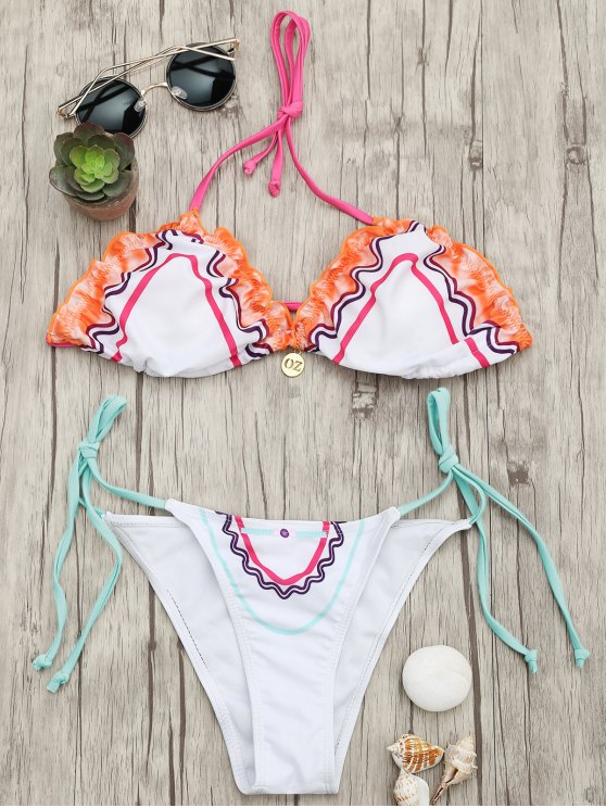 outfits Adjustable Tie Padded String Bikini Set - WHITE L