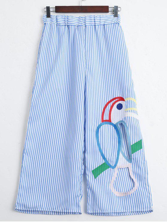 Corte los pantalones anchos de la pierna de las rayas bordadas - Raya Única Talla