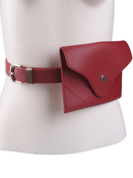 womens Pin Buckle Faux Leather Waist Belt Bag - RED