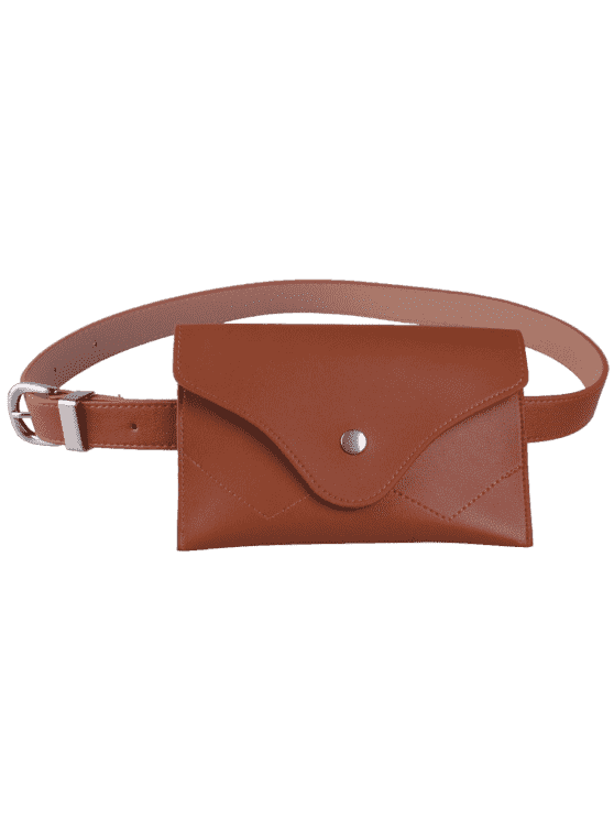 women Pin Buckle Faux Leather Waist Belt Bag - CHOCOLATE