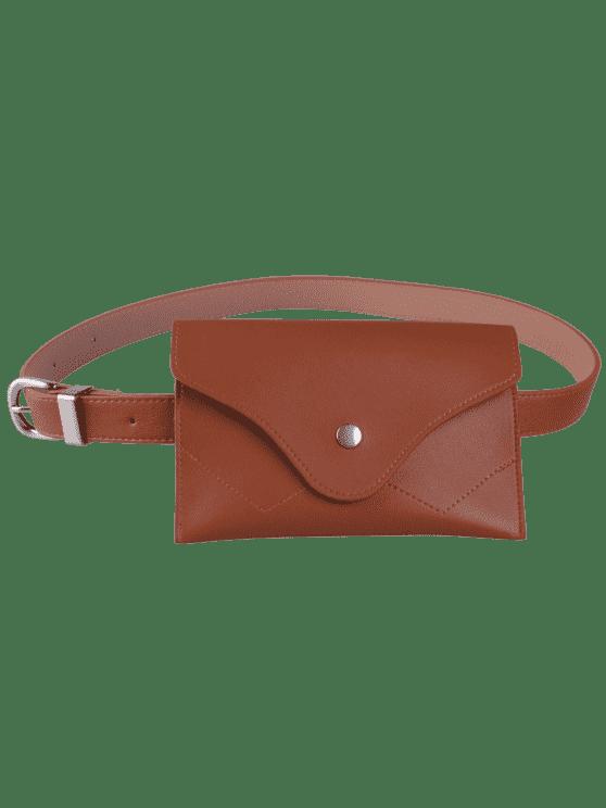 حقيبة حزام الخصر بجلد صناعي - شوكولاتة