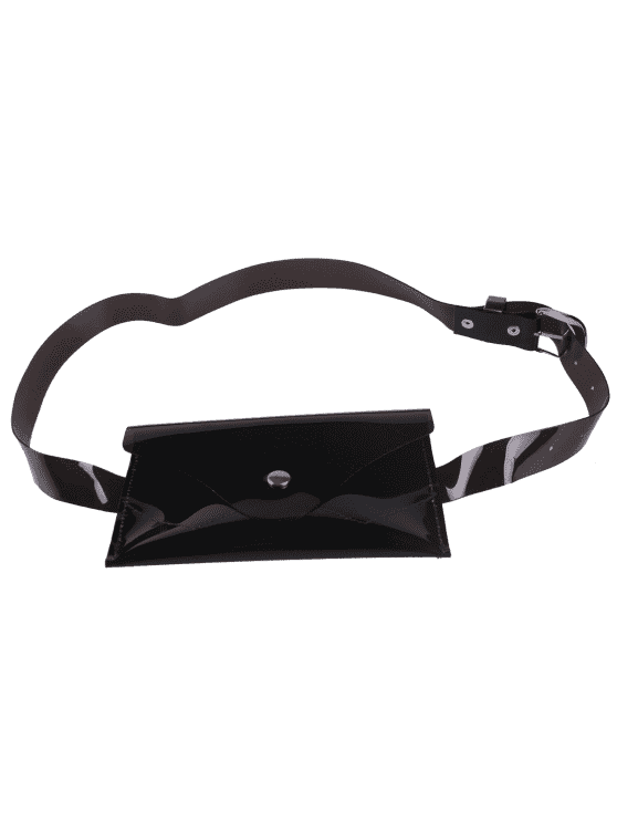 lady Jelly Color Portable Waist Belt Bag - BLACK