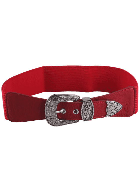 hot Retro Engraved Pin Buckle Elastic Waist Belt - RED