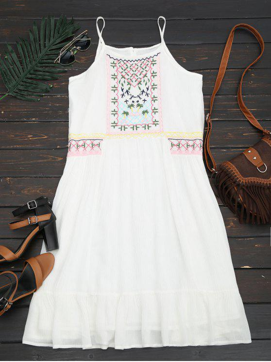 unique Embroidered Ruffles Midi Dress - WHITE L