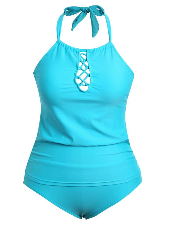trendy Halter Tankini Plus Size Bathing Suit - LAKE BLUE 4XL