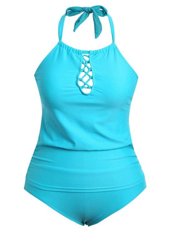 trendy Halter Tankini Plus Size Bathing Suit - LAKE BLUE 4XL