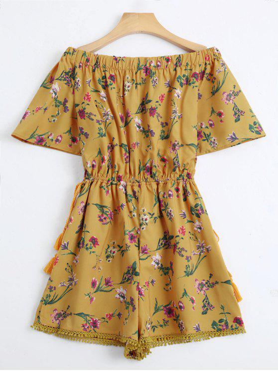 latest Off The Shoulder Drawstring Floral Print Romper - YELLOW L
