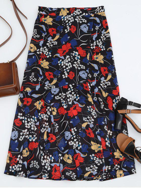 hot Floral Print Maxi Skirt - BLACK M