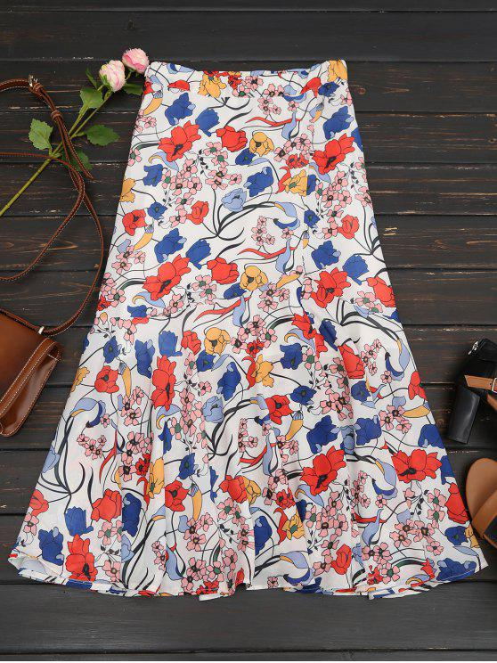 outfits Floral Print Maxi Skirt - WHITE L