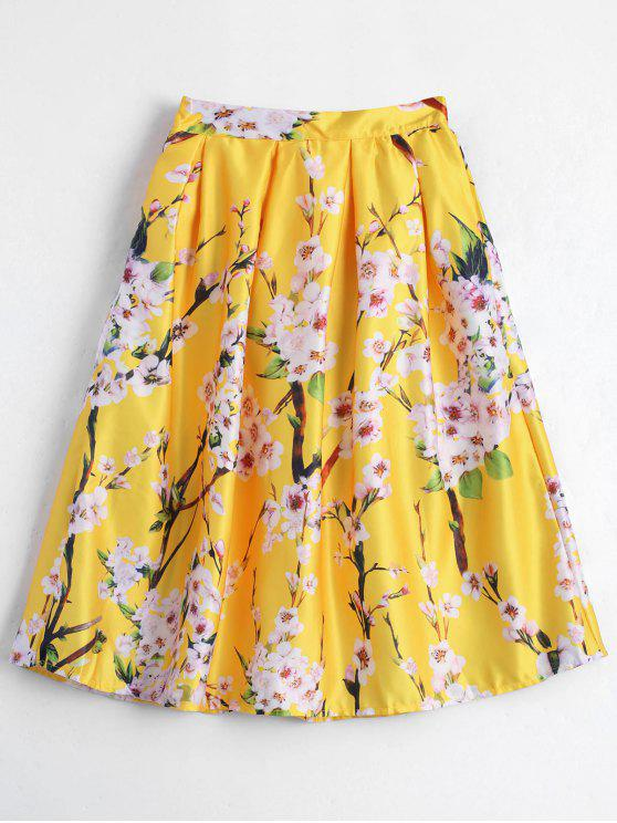 A تنورة طباعة الأزهار بخط - الأصفر حجم واحد