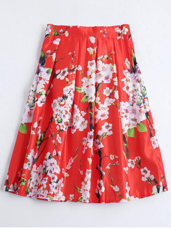 Impreso floral con falda de línea - Rojo Única Talla