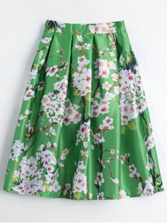 Impreso floral con falda de línea - Verde Única Talla