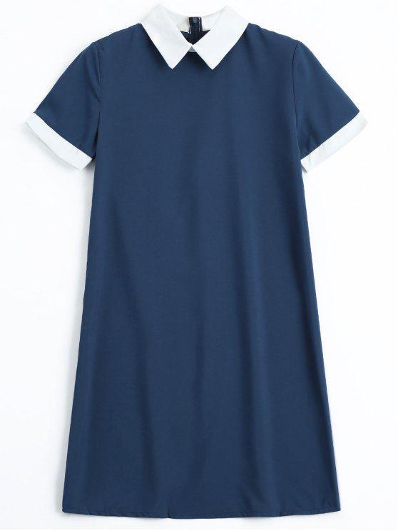 فستان سحاب الظهر بأسلوبين مصغر - الأرجواني الأزرق M