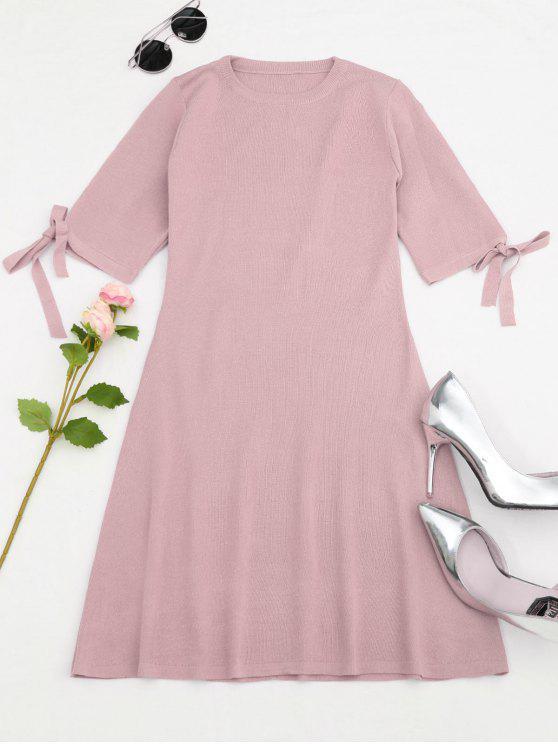 outfits Knitting Split Sleeve Bowknot Mini Dress - PINK ONE SIZE